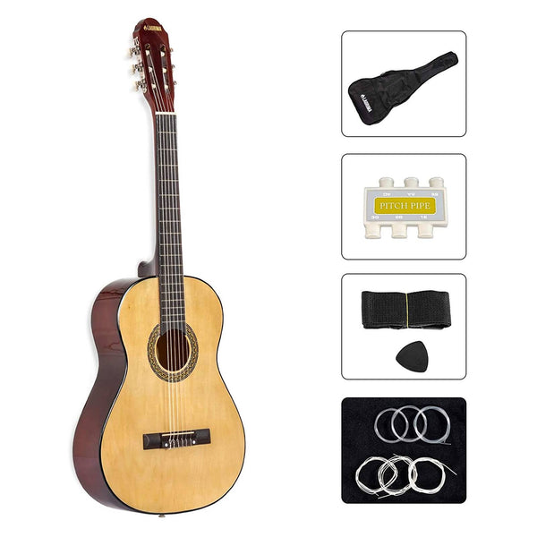 "LAGRIMA 39"" Classical Guitar Beginners with Guitar Case, Strap, Tuner, Picks and Steel Strings (Natural)"