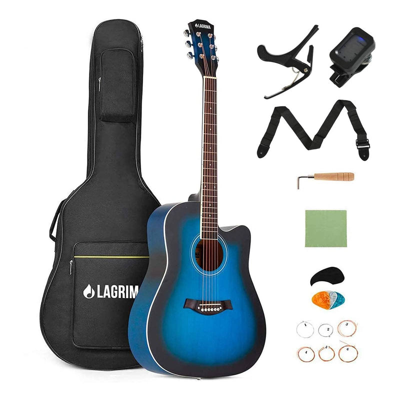"LAGRIMA 41"" Beginner Acoustic Guitar Starter Kit, Cutaway Design Natural 6 Steel Strings Guitars(Blue)"