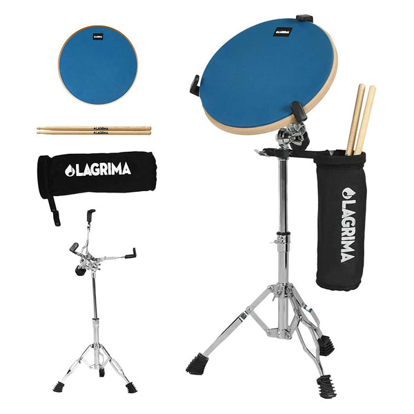 LAGRIMA 12 Inch Professional Silent Drum Practice Pad With Snare Drum Stand Adjustable Kit