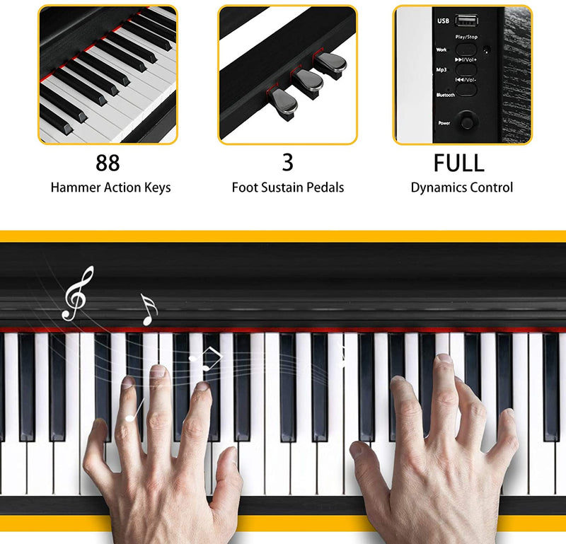 LAGRIMA LAG-630 88 Full Weighted Hammer Heavy Action Key Digital Piano,Black
