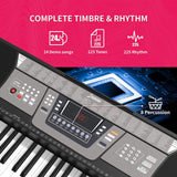 LAGRIMA LAG-410 61 Key Portable Electric Piano Keyboard,W/Adjustable H Stand, Digital Display Screen, Microphone, Music Stand, Power Supply, Suit for Kids Teen Adult Beginner