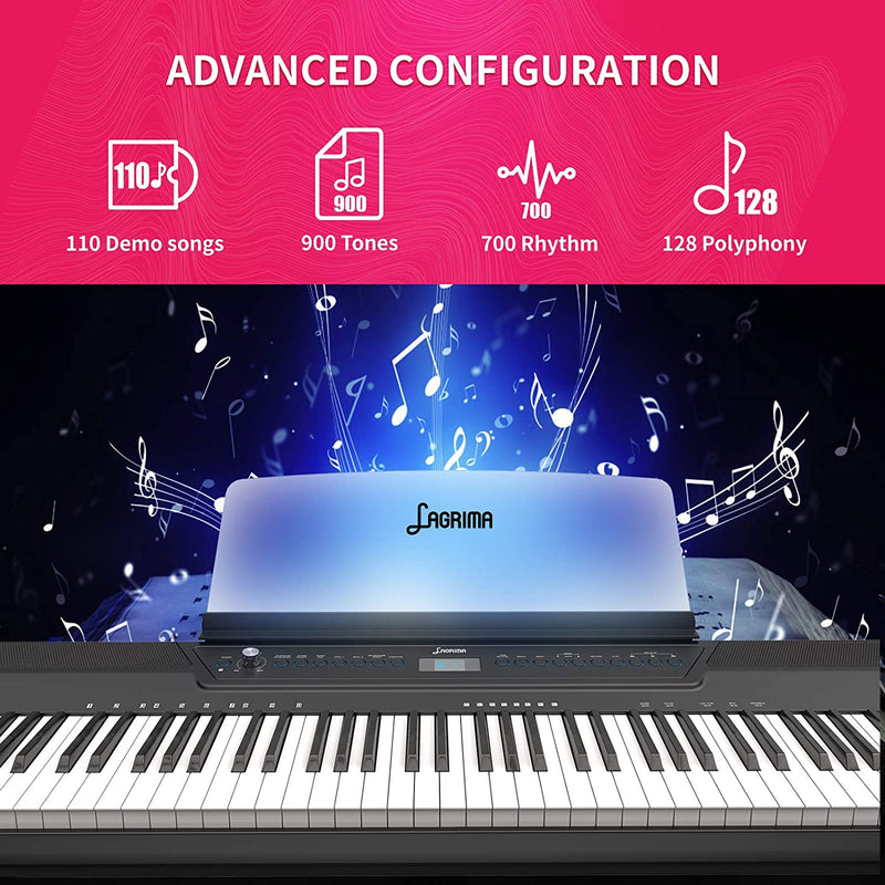 LAGRIMA LAG-560 Full Size Weighted Key Portable Digital Piano, 88 Key Electric Keyboard Piano for Beginner/Adults with Bluetooth, Headphone, Sustain Pedal, Power Supply, Music Stand, Black(No Stand)
