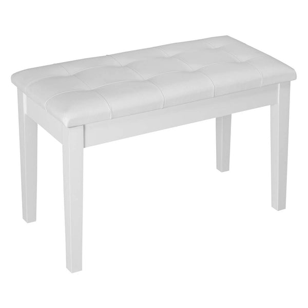 Lagrima Wooden Keyboard Piano Bench Stool with Storage, White