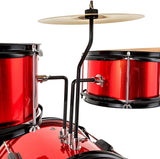 LAGRIMA 3 Piece Kids Drum Set with Adjustable Throne, Cymbal, Pedal & Drumsticks, Metallic Red