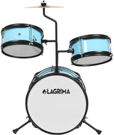 LAGRIMA 3 Piece Kids Drum Set with Adjustable Throne, Cymbal,Pedal & Drumsticks