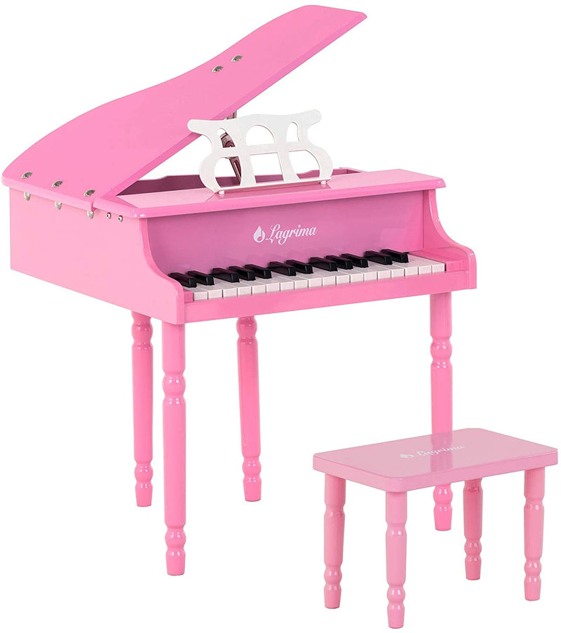 LAGRIMA Classical Kids Piano, 30 Keys Wood Mini Baby Grand Piano w/ Bench, Mini Musical Toy for Child (Pink)