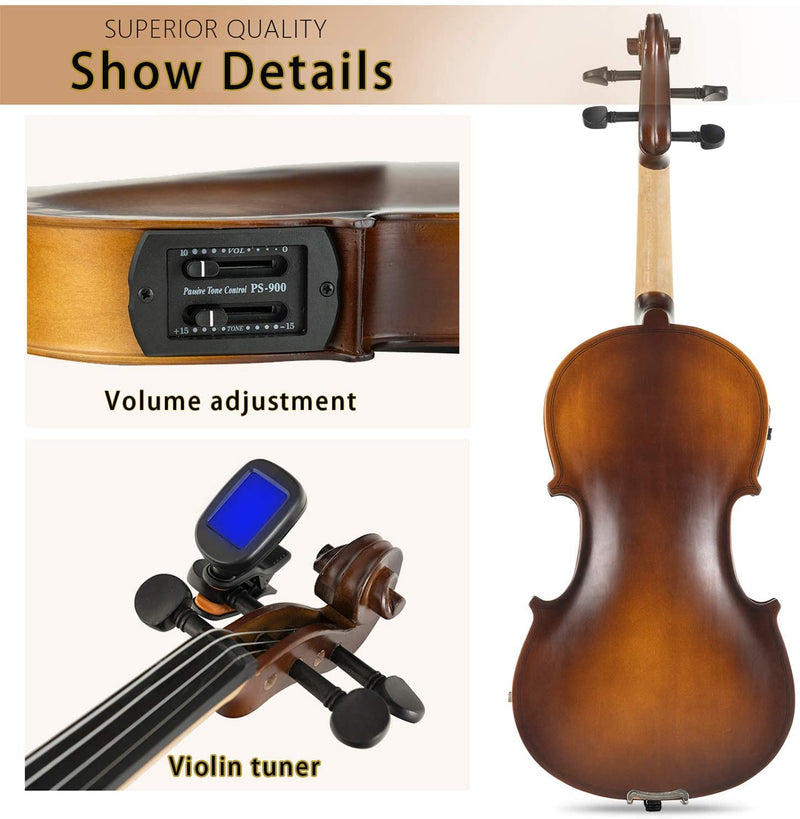 LAGRIMA Beginner Electric Violin 4/4, Beginner Violin