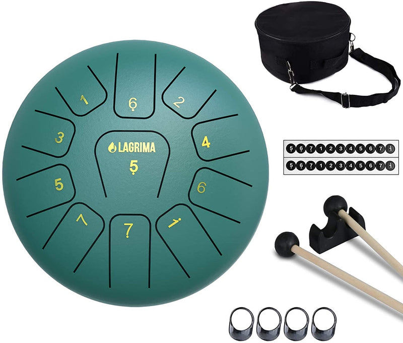 LAGRIMA Steel Tongue Drum, 11/13 Notes 10/12 Inches Percussion Instrument Green