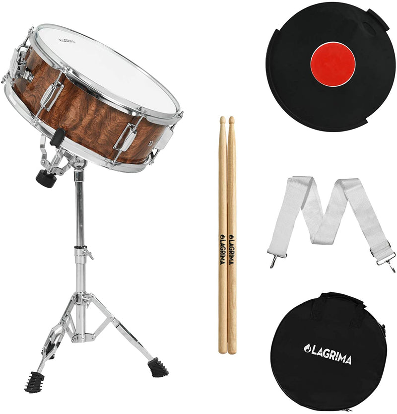 LAGRIMA 14X5.5 inch Snare Drum Set for Student, Beginners with Gig Bag, Sticks, Strap, Stand and Practice Pad Kit