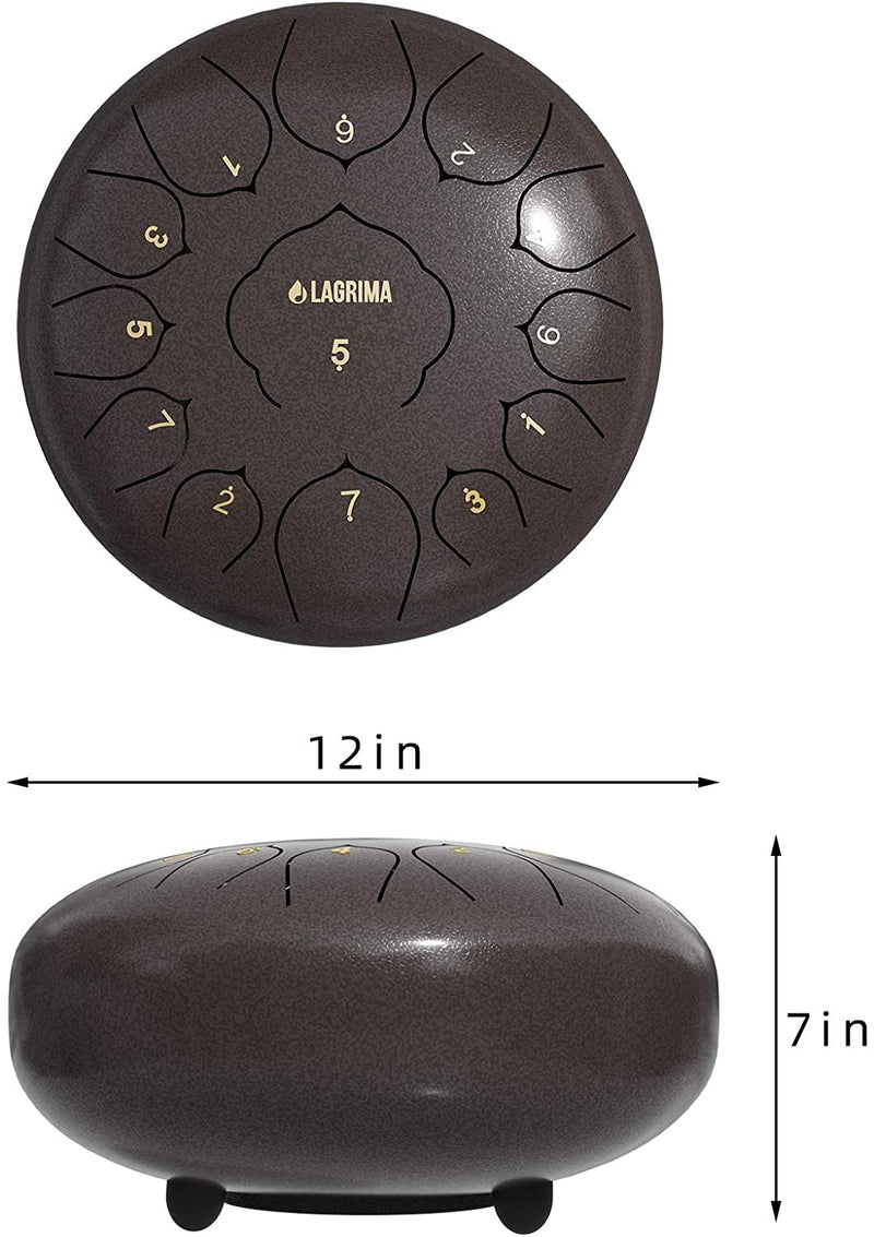 LAGRIMA Steel Tongue Drum, 11/13 Notes 10/12 Inches Percussion Instrument Brown