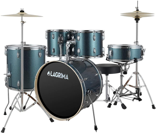 LAGRIMA 5 Piece 22 inch Full Size Complete Adult Drum Set with Adjustable Throne