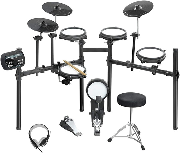LAGRIMA LAG-710 Mesh Kit Electric Drum Set, 8 Piece Electronic Drum Kit with Adjustable Drum Throne
