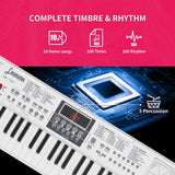 LAGRIMA LAG-720 Kids 61 Key Portable Electric Keyboard Piano with Built In Speakers, Digital Display Screen, Microphone, Dual Power Supply, Music Sheet Stand for Beginner, Kid, White