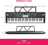 LAGRIMA LAG-710 Kids 61 Key Portable Electric Keyboard Piano with Built In Speakers, Digital Display Screen, Microphone, Dual Power Supply, Music Sheet Stand for Beginner, Kid, Black
