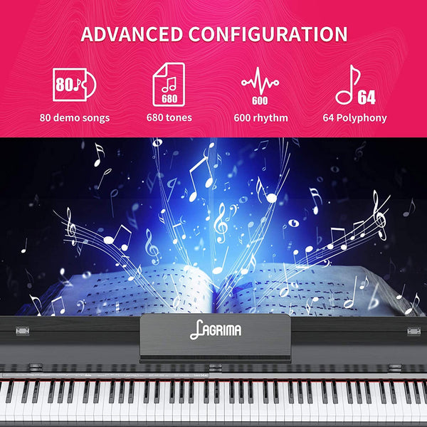 LAGRIMA 88 Key Digital Piano with Bench, Electric Piano for Beginner
