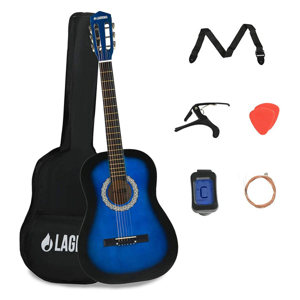 LAGRIMA 38 inch 4/4 Size Acoustic Guitar Starter Kit with Guitar Case, Strap, Tuner & Pick Steel Strings (Blue)
