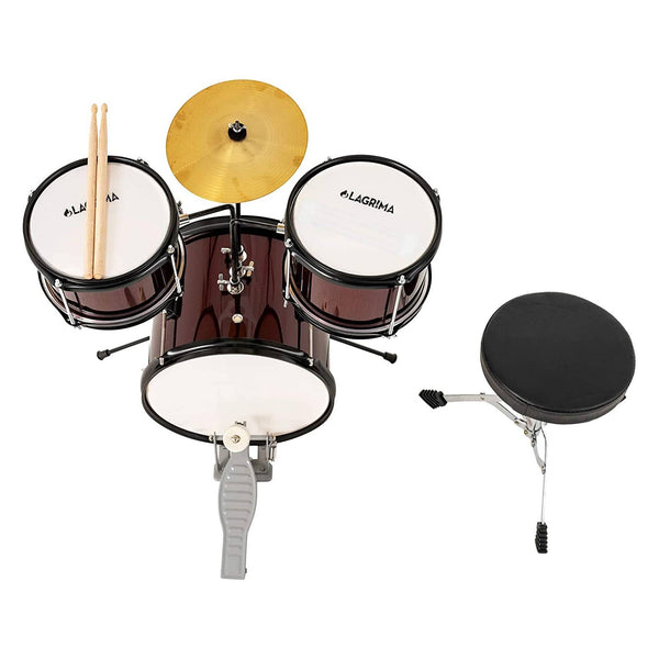 LAGRIMA 3 Piece Kids Drum Set with Adjustable Throne, Cymbal, Pedal & Drumsticks, Wine Red