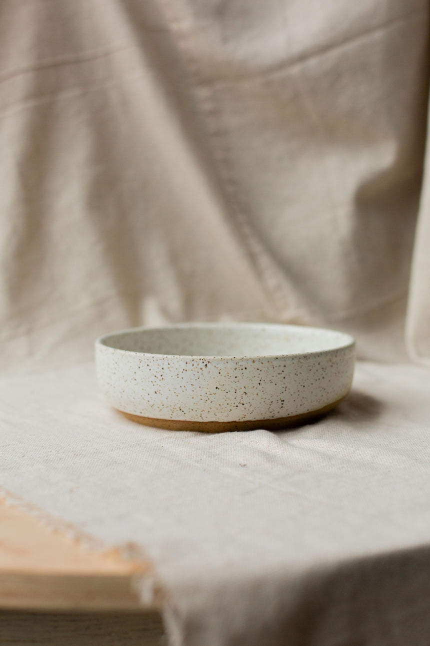 Speckled White Low Bowl