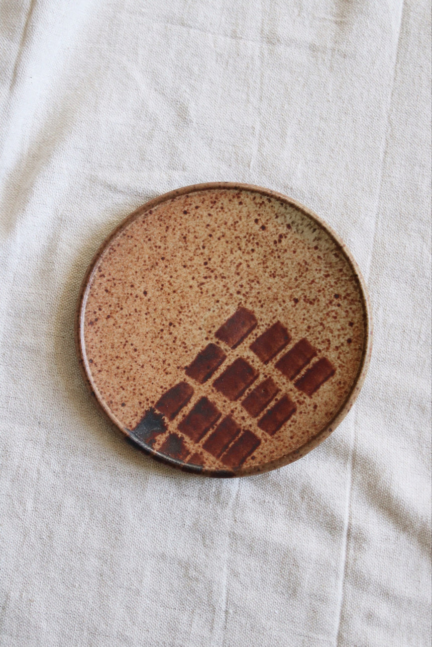 Speckled Brown Painted Ceramic Plate