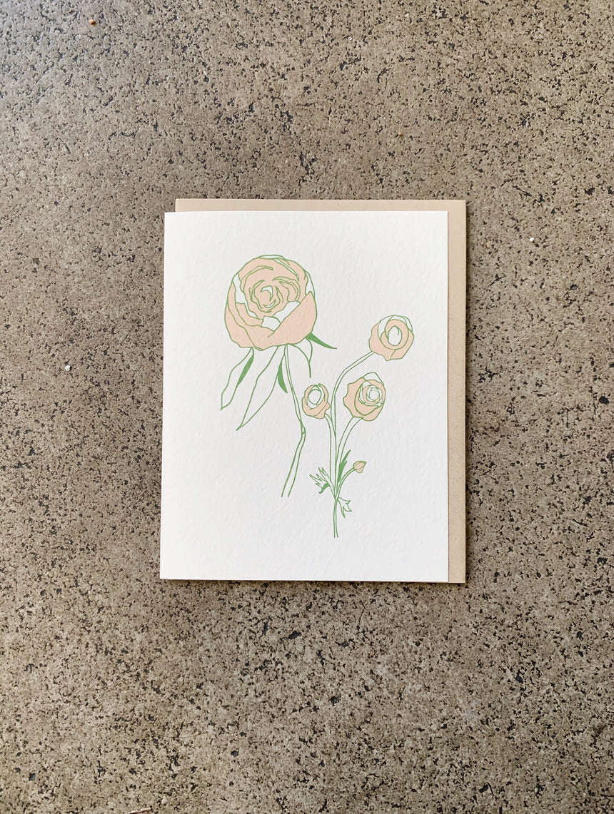 Peonies Wildflowers Card
