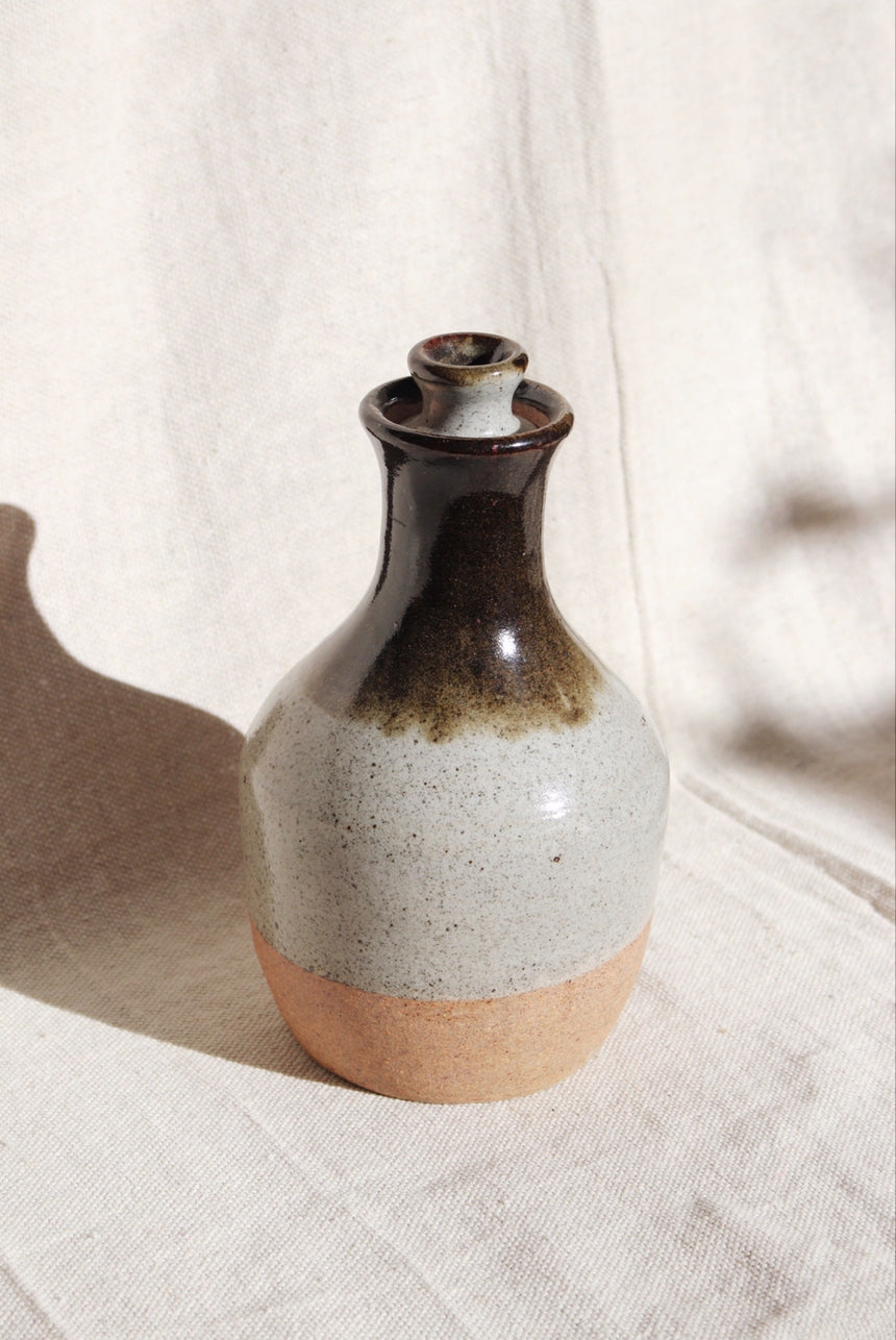 Vintage Ceramic Bottle with Lid
