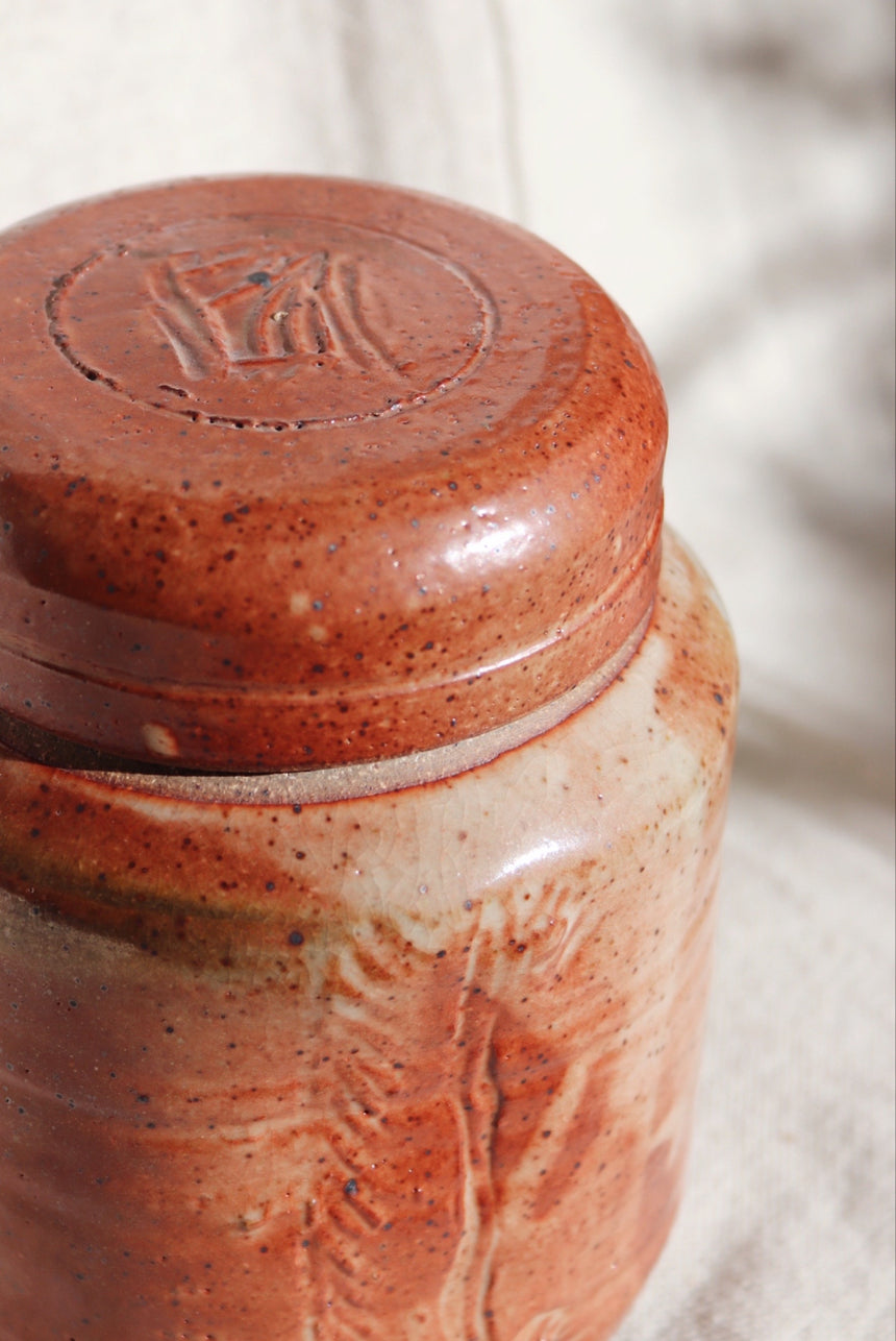 Signed Ceramic Jar with Lid