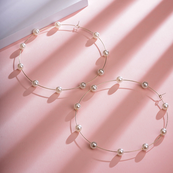 Oversized Pearl Hoops