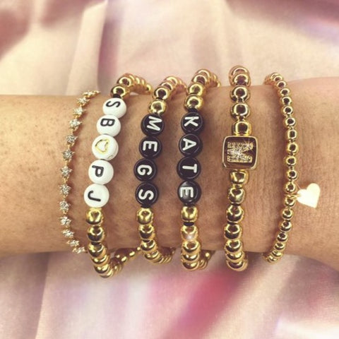 """All in"" bracelet stack"