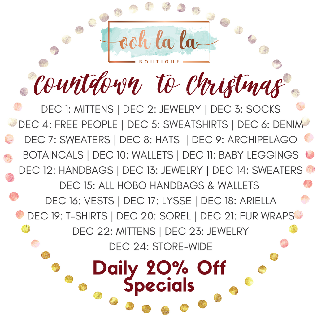 Annual Countdown to Christmas 20% Off Specials