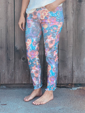 Printed Twill Pants in Floral Pattern
