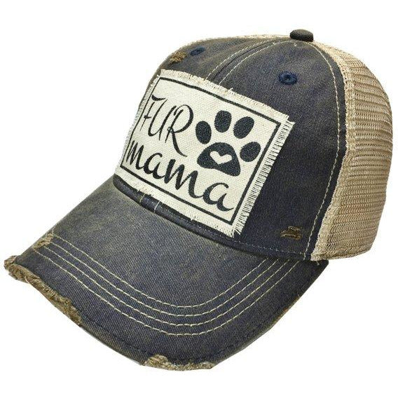 Blue distressed fur mama womens baseball hat
