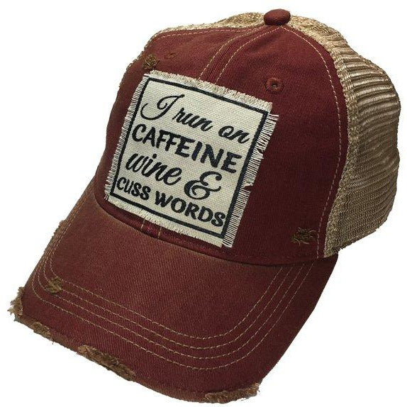caffeine wine and cuss words baseball hat