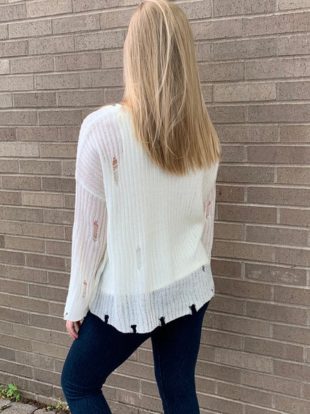 Sheer Distressed Sweater