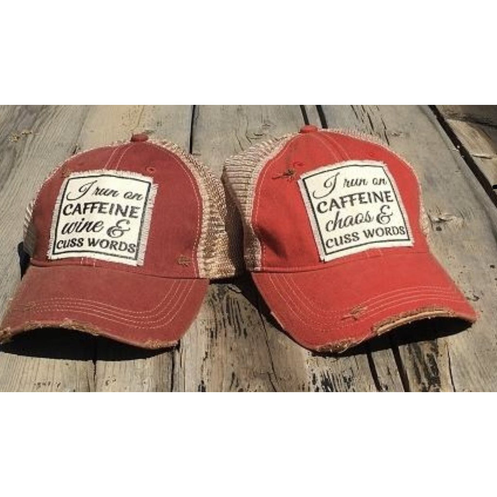 I run on caffeine, wine chaos & cuss words hat with free shipping