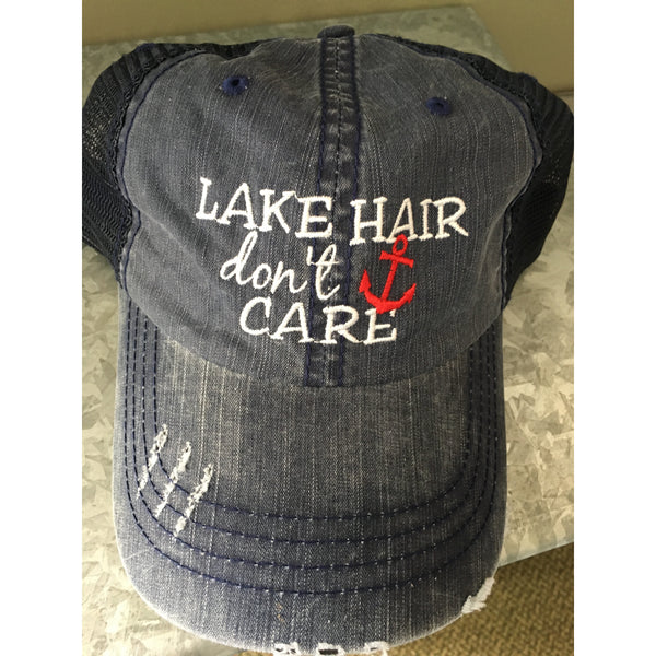 Lake Hair, Don't Care Blue Hat Hats, OohLaLaBling- Ooh La La Free Shipping