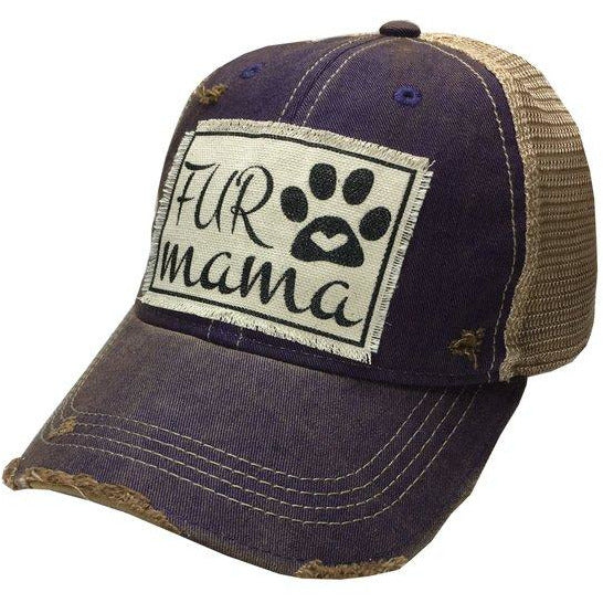 Purple distressed fur mama womens baseball hat