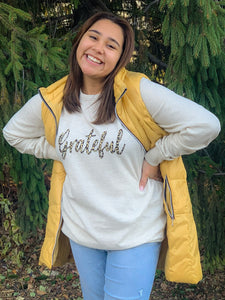 Grateful Animal Print Crewneck Sweatshirt in Beige