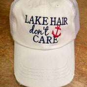 Lake Hair, Don't Care White Hat Hats, OohLaLaBling- Ooh La La Free Shipping