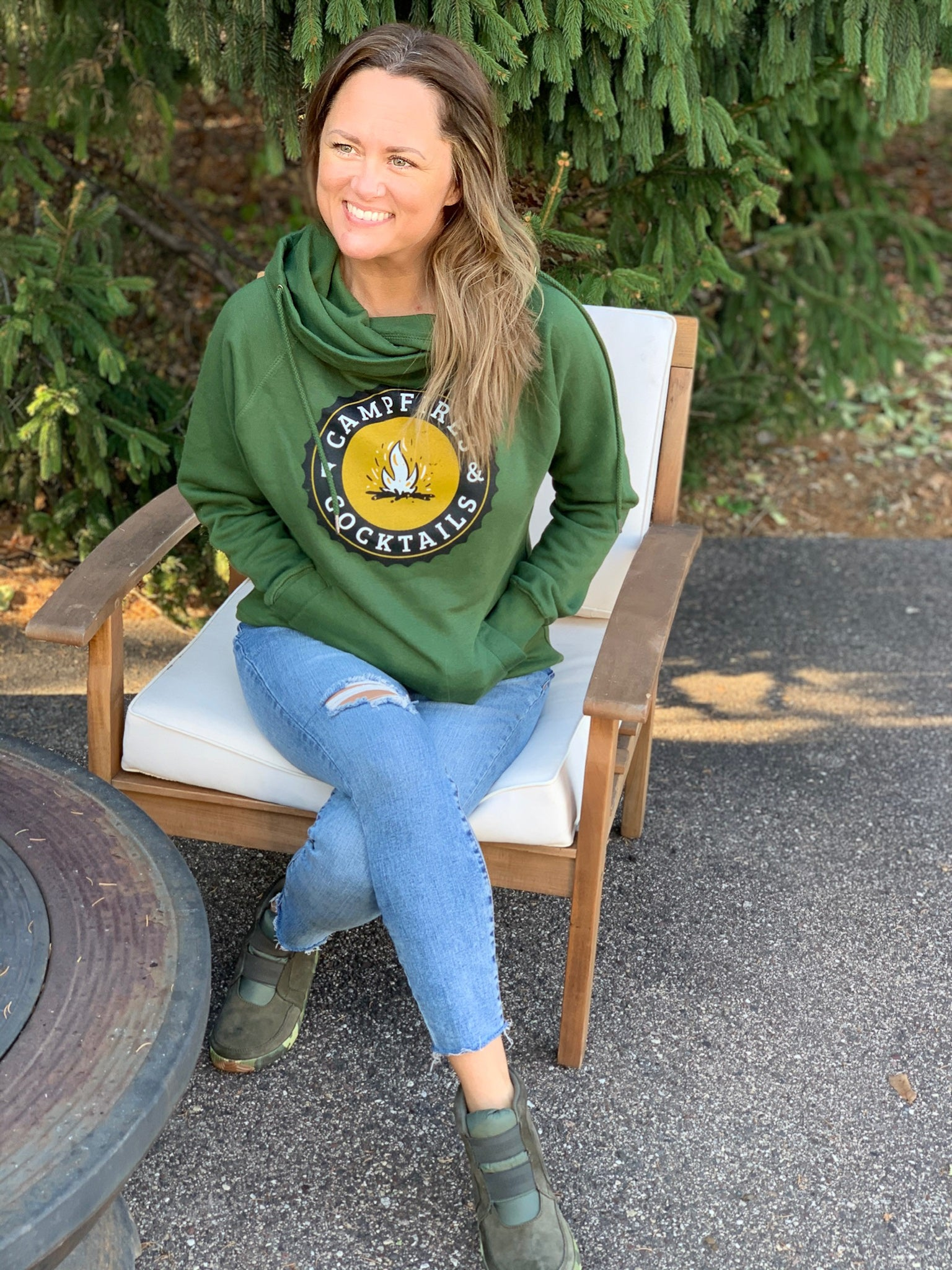 Campfires & Cocktails Hoodie Military Green
