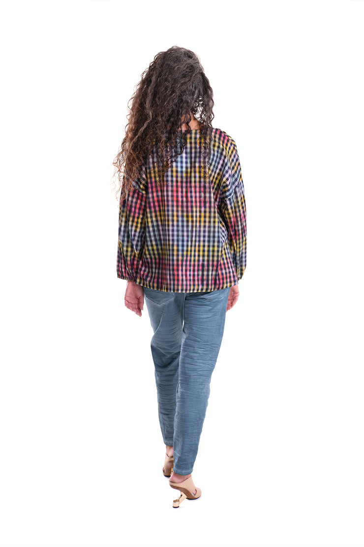 Gingham Tie-Dye Blouse ~ ST211P - Rootchi