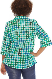 Gingham Tie-Dye Tunic ~ ST210L Lagoon - Rootchi