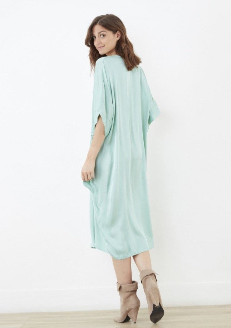 Kitty Matte Satin Dress ~ RE3195 Aqua - Rootchi
