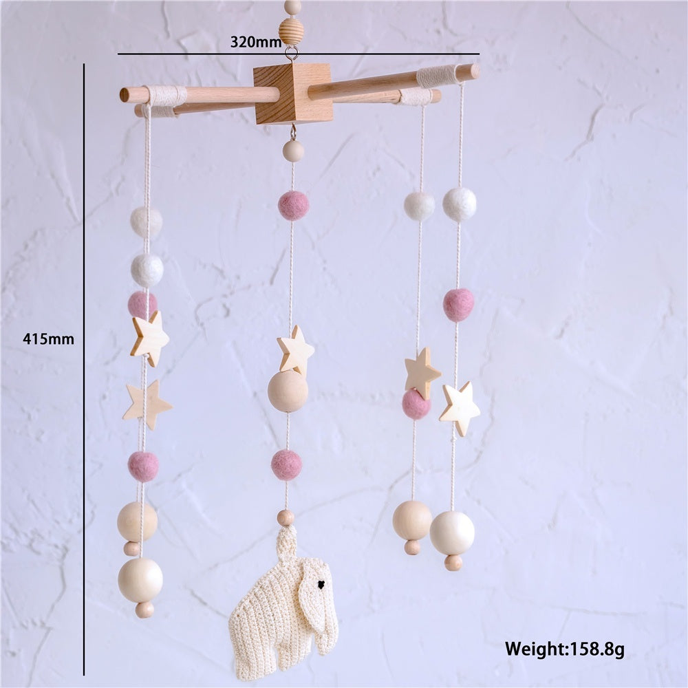 1Set Baby Mobile Crib Hanging Bed Bell Original Wood Baby Rattle Newborn Soother Nursery Decor