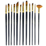 12pcs/set Artists Paint Brushes Nylon Hair Acrylic Watercolor Paint Brush Set