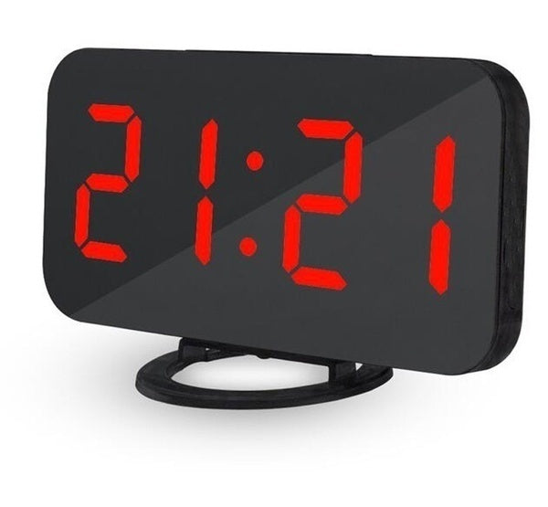 Simple LED display dimming alarm clock digital clock large easy to read mode simple snooze function mirror dual USB charger port