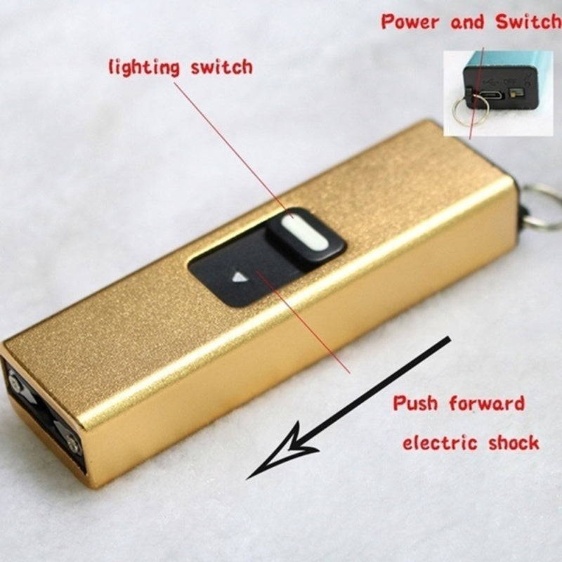 1PC Electric Shock Portable Shock Electric Baton Stun Gun Rechargeable with Safety Disable Pin LED Flashlight