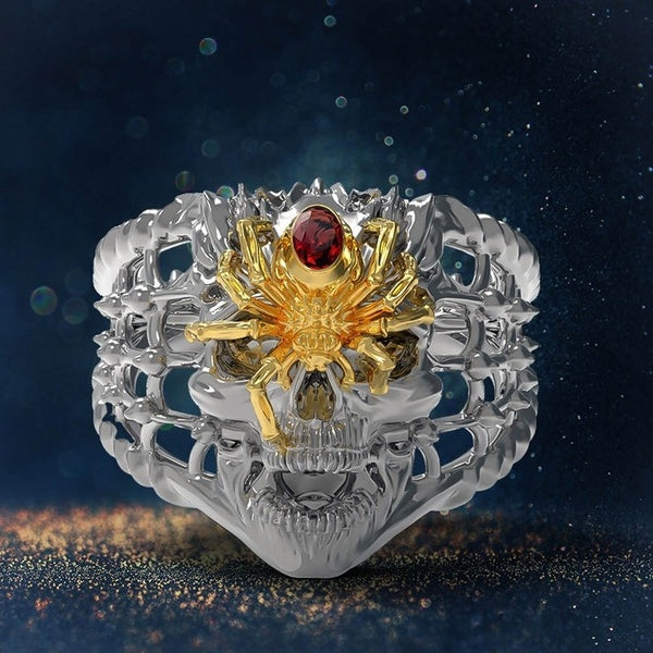 Antique Silver&Gold Color Spider Skull Ring Cubic Zirconia Halloween Party Gothic Jewelry Gifts