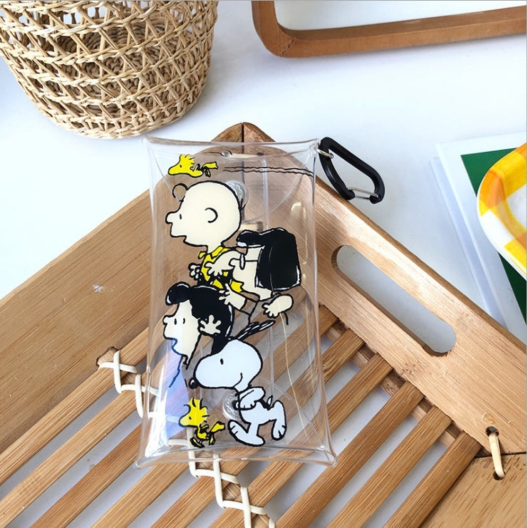 Snoopy transparent coin purse Storage bag Schoolbag attachments Headphone bag