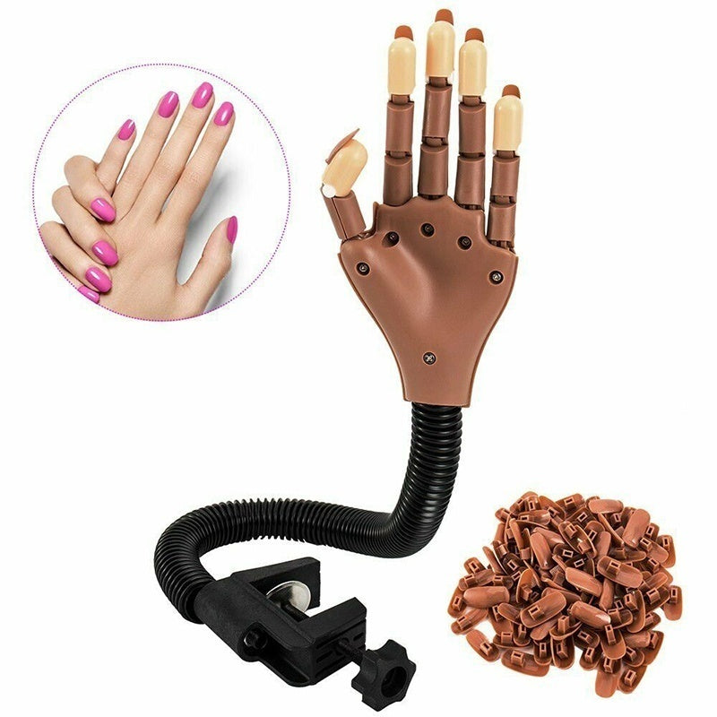Adjustable Nail Training Hand Practice Trainer Manicure Art Model Salon DIY Tool with 100Pcs Tips