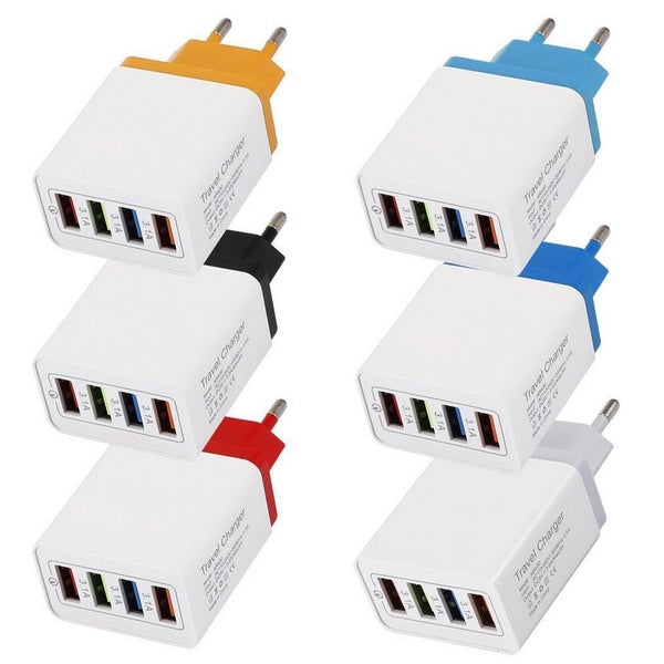 4 USB Port Colorful Charger 3A Travel Charging Head for Mobile Phone iPad
